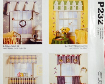 WINDOW VALANCES Sewing Pattern for Baby /Infant Bedroom, Home Decor, McCalls P232, UNcut pattern