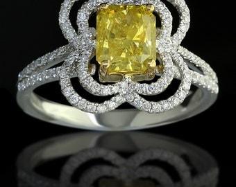 1.92 ct Radiant Cut Fancy Yellow Diamond Engagement Ring in 18K Gold - BAJ-64