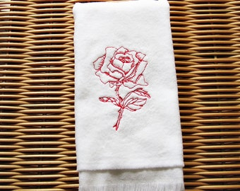 Red Rose Fingertip Guest Towel Embroidered Handmade