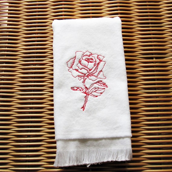 Rose Embroidered Towels: Red Rose Fingertip Guest Towel Embroidered Handmade