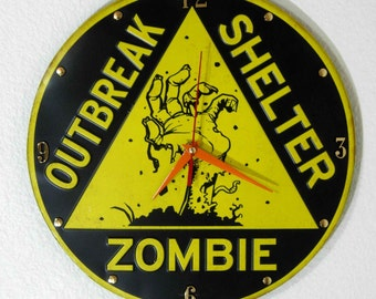 Zombie Outbreak Shelter Wall Clock - 12 Inch Diameter - New