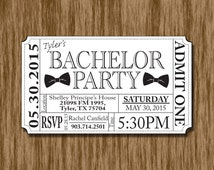 Bachelor Party Ticket Invite (Printable) Bow Tie/Mustache/Beer Bottle/ Pint Glass