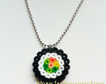 Food Jewelry - Perler Bead Sushi Necklace
