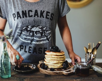 Pancakes Please Womens Dolman Slouchy T Shirt | Women's T-shirt | Food T-shirt | Pancakes Tee | Brunch Tee | Breakfast T Shirt