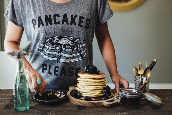 Pancakes Please Womens Dolman Slouchy Food Foodie Breakfast Brunch T-Shirt