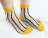 Japanese Print Sheer Socks . Peekaboo Banana Stripe Sock. Nylon Socks Stockings