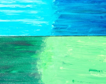 Large diptych green and blue abstract wall art-Acrylic on canvas palette knife paintings