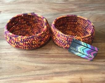 Small-Medium Orange, Red and Purple Crochet Baskets