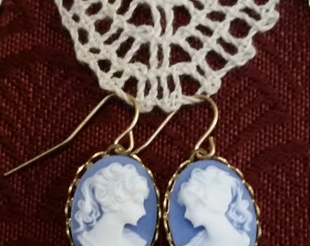 Blue Background Cameo Earrings with Goldplate Dangles