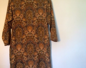1960s Brown Bohemian Print Long Sleeve Dress/Size Small/Length Tall/Hippie/Fall/Gorgeous
