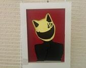 "Celty Sturluson Portrait Layered Paper Cut Art Piece 5""x7"""" Shadowbox Frame"