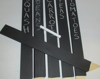 Set of 6 - 14 INCH Chalkboard Wood Garden Markers / Herb Markers / Plant Markers / Plant Labels / Place Marker / Wood Stakes