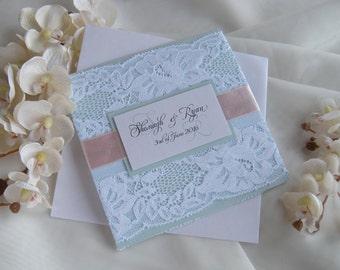 Rustic Wedding Invitation, Lace Wedding Invitation, Blue Wedding Invitation, Peach Wedding Invitation, White Wedding Invitation