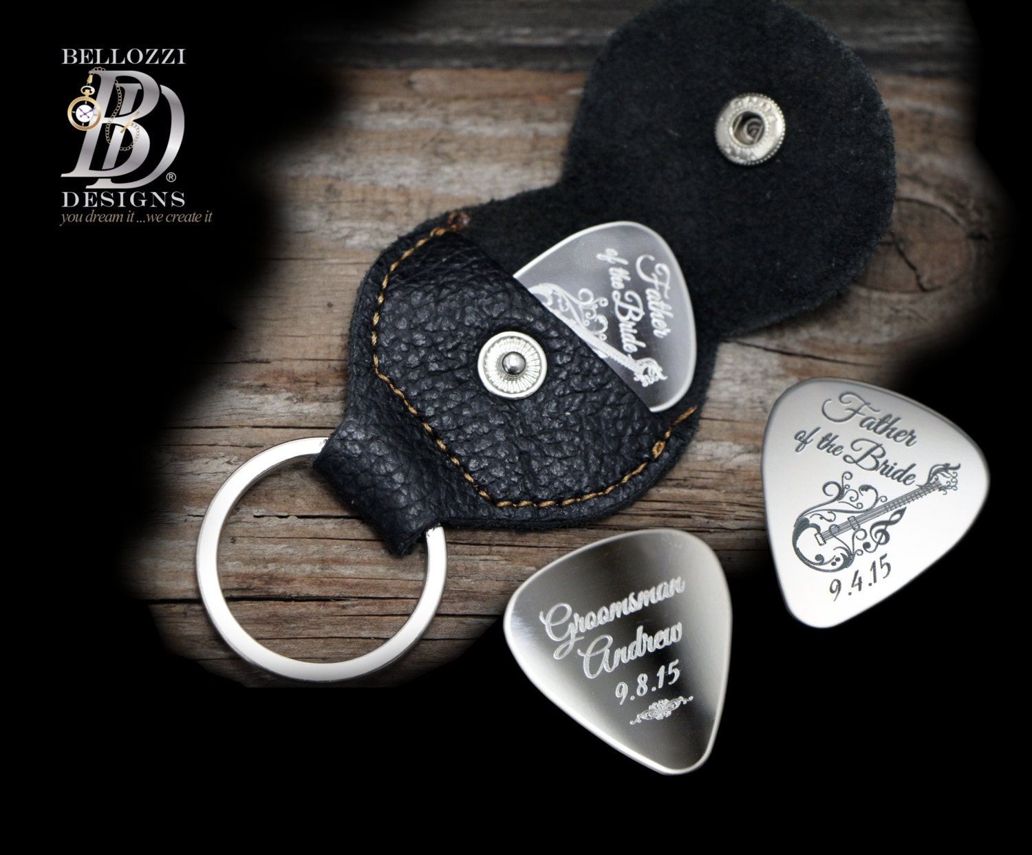 sale personalized guitar pick keychain by bellozzidesigns. Black Bedroom Furniture Sets. Home Design Ideas