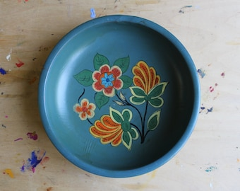Scandinavian Hand Painted Blue Wood Bowl, Vintage Wooden Folk Art with Flowers