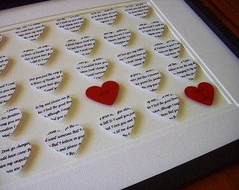 Wedding Vows Print, Anniversary Gifts For Couples, 11X14 Unframed 3D Paper Hearts Wedding Gift, Anniversary, Wedding Song Lyrics
