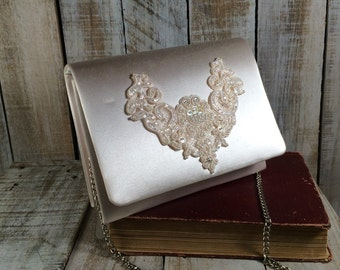 Dyeables - Bridal Bag, Wedding Bag, White Bridal Clutch, White Satin Purse, Bridesmaid Clutch, Bridal Purse, Wedding Clutch