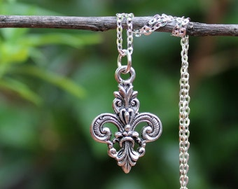 Fleur De Lis Pendant Necklace.Sterling Silver Chain.Metal plated in sterling silver.Gold.Bridal.Valentine.graduation.Birthday.Handmade.