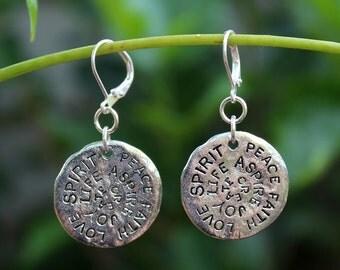 Inspirational Words Dangle Earrings.Metal Earrings.Gold.Silver.Drop Earrings.Valentine.graduation.Birthday.Mother's.Bridal.Modern.Handmade.