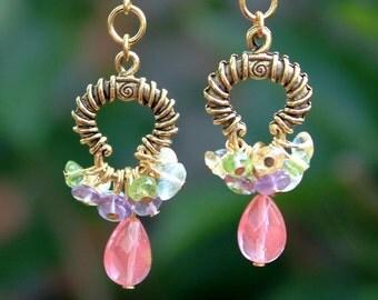 Multi Gemstone Dangle Cluster Earrings.Metal Hoop plated in 24K Gold.Statement.Chandelier.Drop.Bridal.Pastel.Gift.Dainty.Valentine.Handmade.