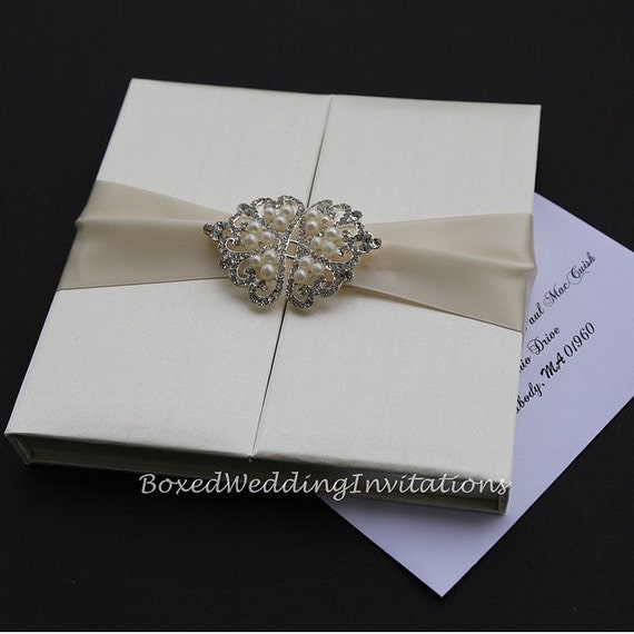 Invitation box gatefold invitation boxed wedding invitation - Gatefold Invitation Silk Invitation Box Boxed By