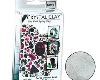 Crystal Clay Two Part Epoxy Mix 50 Grams - Silver Gray Grey Use w/ Chatons, Rhinestones, Findings to make Art Jewelry SU31