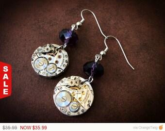Steampunk Watch Part Gear Movement Swiss Purple Crystal Dangle Earrings - Lauren's Creations - Steampunk Earrings - Watch Part Earrings