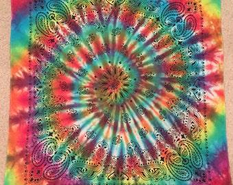 Tie Dye Bandana - Rainbow Bandana - Hippie - Handmade - Michigan Made - Festival