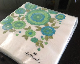 1970's Hallmark Paper Napkins, Turquoise & Lime Green Flowers