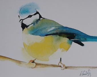 Postcard. Reproduction Watercolour bird Titmouse