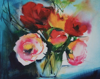 """Postcard. Reproduction Watercolour flowers """"roses in the dark"""" greeting card"""