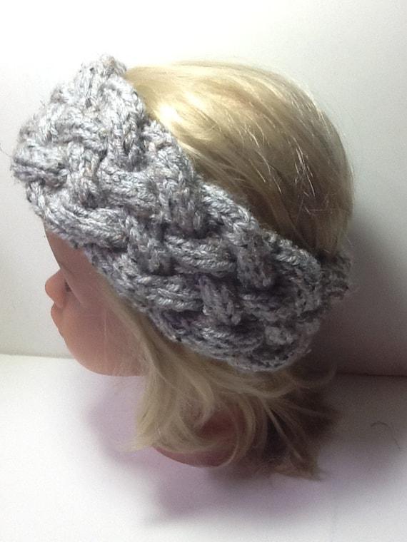 Chunky Cable Knit Headband grey with flecks soft warm