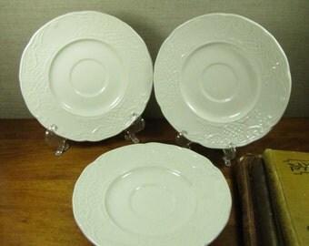 Johnson Bros. - Richmond White - Embossed Trellis - Saucers - Set of Trhee (3)