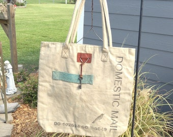 Handmade Vintage Canvas Domestic Mail tote Bag