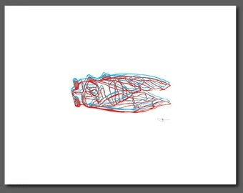 """Red and Blue Cicada, Wall Art, Letterpress Printed, Blind Contour Line Drawing, Fine Art, 8.5x11"""""""