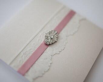 Antique Ivory Pink Lace & Vintage Brooch Style Pocketfold Invitation