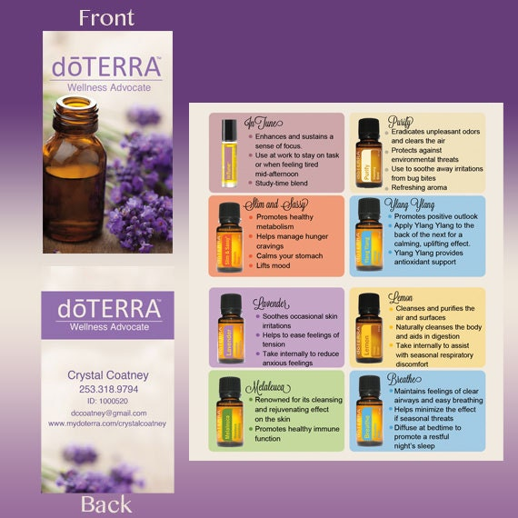Printed Doterra Folded Business Card Lavender By