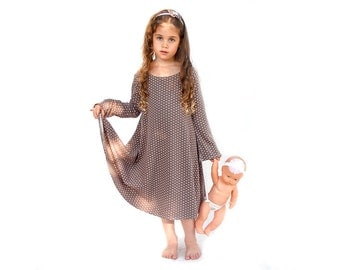 Polka dot winter dress for girls - Girls Long sleeve dress - girls twirly dress - girls school dress