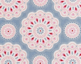 NEW - TILDA  'Sweetheart ' Doilies Light Blue Floral 100% Cotton Fabric Fat Quarter
