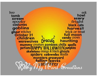 Halloween Decoration Art, Vampire Bat Word Art, Halloween Word Art Typography, PRINTABLE DIGITAL FILE