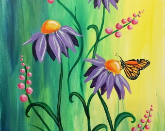 Purple Cone Flowers with Butterfly