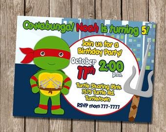 Ninja Turtle Birthday Invitation - Boy