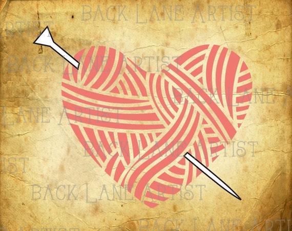 Knitting Needles Drawing : Love heart yarn ball and needles crocheting knitting clipart