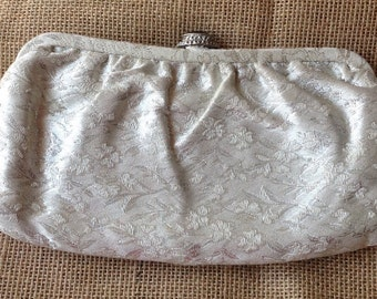 Vintage White/Silver Laced Clutch with Black Closure