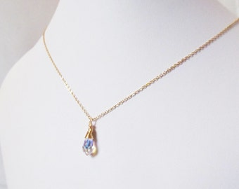 crystal drop necklace gold, AB crystal necklace, aurora borealis drop wire wrapped jewelry