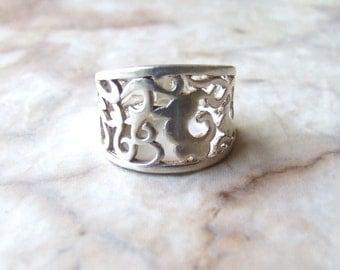 Free US shippng, vtg filigree sterling silver band, size 6 band, filigree band, sterling silver ring