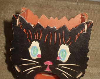 Vintage HALLOWEEN Black Cat cardboard Lantern