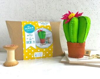 Kit de métier, kit de bricolage, cactus, cactus feutre, kit débutants, activités artisanales, décor à la maison, kit easyDIY, patron de couture, botanique