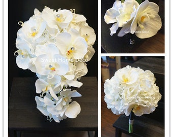 JennysFlowerShop Real Touch Phanaenopsis Orchid Hydrangea Diamond Wedding Bouquet Package Bridal Bouquet Bridesmaid Bouquet Boutonniere