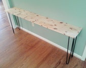 Beautiful knotty pine console table sofa table with black hairpin legs